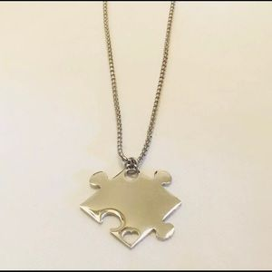 """Jewelry - Puzzle Heart Autism Stainless Steel 24"""" Necklace"""